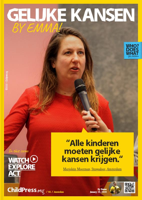 Emma spreekt met Wethouder Marjolein Moorman van de Partij van de Arbeid Amsterdam