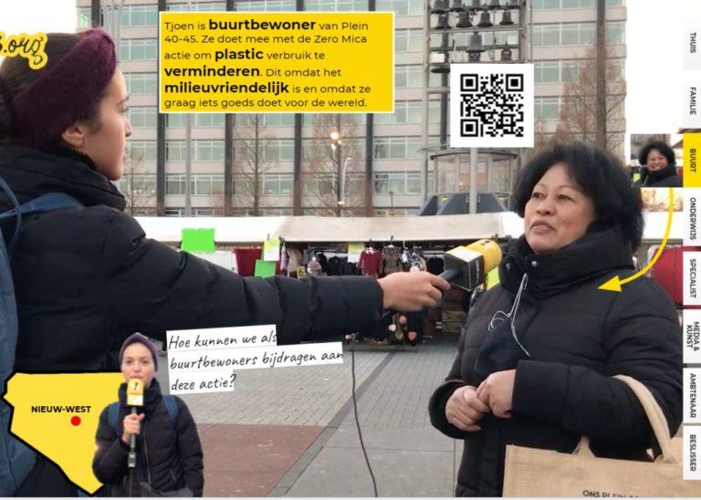 Imane spreekt met buurtbewoonster Tjoen over de Zero Mica actie