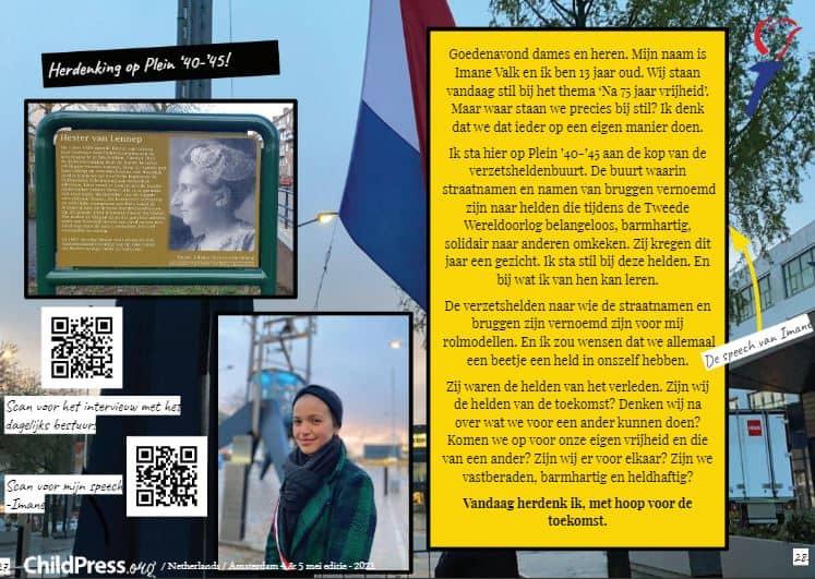 Imane herdenkt op Plein '40/'45 in Amsterdam