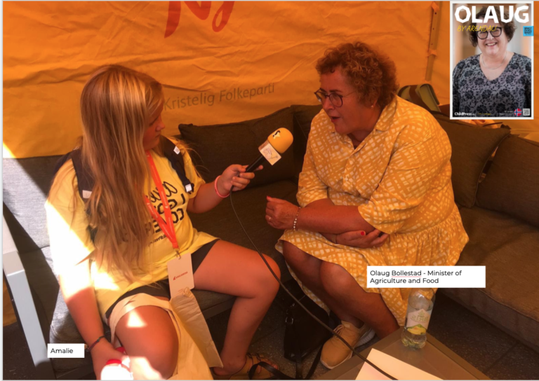 Olaug Bollestad interviewed by ChildPress at Arendalsuka 2021